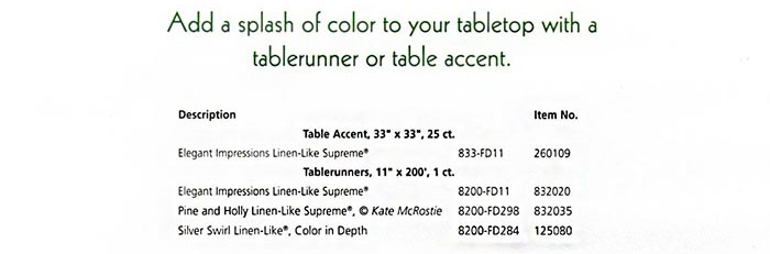 Linen-Like Table Accents, Tablerunners